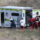 Paramedics, police and NZONE Skydive staff at the scene of the accident near Jack's Point...