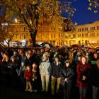 Part of the crowd at this morning's Anzac Day Dawn Parade in Dunedin. Photo Gerard O'Brien