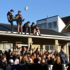 Partygoers  in Castle St celebrate the All Blacks' Rugby World Cup win yesterday morning.