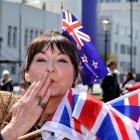 Passionate royal fan Lesley Hayde, of Dunedin, who kissed  Prince Charles and the duchess during...