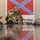 Pavel Gubarev, one of the leaders of the self-proclaimed Donetsk People's Republic, speaks during...