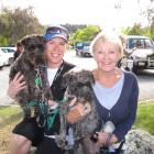 Sarah Hobbs and Pamela Yeomans, both of Wanaka, with schnoodles Murphy and Bobby.