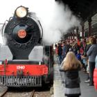 People line the platform at Dunedin Railway Station to watch the engine.