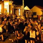 People party on Hyde St, Dunedin, on Saturday night. Photo by Peter McIntosh.