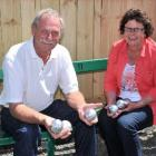 Petanque Taieri president Richard Hambleton and committee member Fay Tikey sitting in a salvaged...