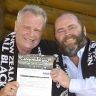 Pete Thomson (right) and friend John Hannam celebrate the news they are off to the Rugby World...