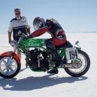 Phil Garrett riding a 1979 Kawasaki 1260 Turbo at the Bonneville salt flats, in 2008. It is the...
