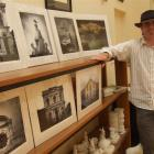 Photographer Derek Golding with some of his photographs on display at Omru Blue. Photo by Sally Rae.