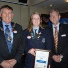 Pictured from left, Clutha District Mayor Juno Hayes, TrustPower Youth Community Spirit Award...
