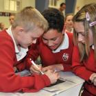 Pictured from left Kaikorai Valley College pupils Mikey Cooper(12), Caleb Vuli (12) and Smara...
