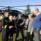 Pilot Graeme Gale (left) meets Lawrence fundraisers Sharon Bazley, Ross Young, Judy Sanson and...
