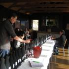 Pinot noir lined up for tasting. Photo by Charmian Smith.