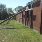 Poles brace the earthquake-damaged Lakeside Soldiers' Memorial Hall. Planning has begun for a...