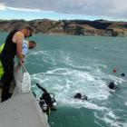 Police divers during the search. Photo: NZ Police