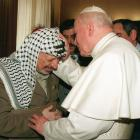 Pope John Paul II and Palestinian Yasser Arafat after a private audience at the Vatican in...