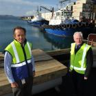 Port Otago chief executive Geoff Plunket, left, and chief pilot Capt Hugh Marshall, with the tugs...