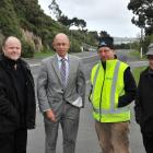 Unhappy about cycle lane modifications in Portobello Rd, Dunedin, are (from left) Storage King...