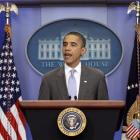 President Barack Obama speaks from White House briefing room about a deal being reached to raise...