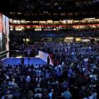 President Bush addresses the Republican National Convention in St. Paul, Minn., on Tuesday, via...
