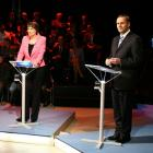 Prime Minister Helen Clark and National Party leader John Key get set for the ONE News Election...