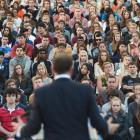 Prime Minister John Key addresses first-year University of Otago students during the university's...