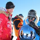 Prince Harry arrives at the South Pole with other members of the expedition. REUTERS/Walking With...