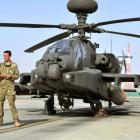 Prince Harry is shown the Apache helicopter flight line by an unidentified member of his squadron...