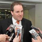 Privileges committee chairman Simon Power last night announces to the media the timing of the...