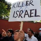 "Pro-Palestinian Turks shout slogans ""death to Israel"" as they protest against Israel, at the..."
