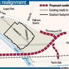 Proposed roading realignments. ODT Graphic.