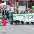 Protesters against cuts to early childhood education march in Dunedin on Saturday. Photo by Craig...