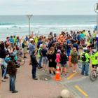 Protesters rally at St Clair Beach. Photos by Gerard O'Brien.