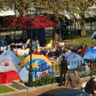 Protesters' tents in the Octagon yesterday. Photo: Jane Dawber