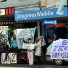 Protesting  against the proposed cell tower outside 2degrees Mobile in George St in June  last...