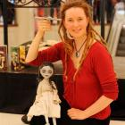 """Puppeteer Asphyxia with """"Martha Grimstone"""" in Dunedin yesterday. Photo by Linda Robertson."""