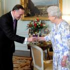 Queen Elizabeth meets New Zealand Prime Minister John Key at Buckingham Palace in London. REUTERS...