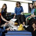 Queen's High School pupils (clockwise from bottom left) Libby Atkinson (14), Tara Bonsor (17),...