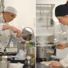 Queens High School pupil's Courtney Dowdall (18, left) and Sharna-Lee Te Waiti (17) cook pasta...