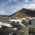 Queenstown Airport's stands fill up on Saturday, in this view from the air control tower. Photo...
