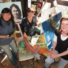 Queenstown Art Society members illustrative drawer and nature painter Sunhee Shin (left), textile...