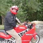 Queenstown Lakes Mayor Clive Geddes on his Ducati motorcycle in Queenstown yesterday. Mr Geddes...
