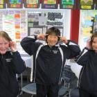 Queenstown Primary School pupils (from left) Jasmine Addie, Terry Kim and Bonnie Joans. Photo by...