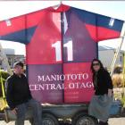 Quentin McIntosh, manager of Burn radio station, and Amie Pont, of Project Maniototo, with the...