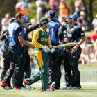 Quinton de Kock of South Africa leaves the field after being dismissed during the ICC Cricket...