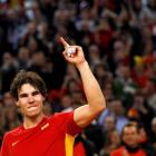 Rafael Nadal celebrates after defeating Argentina's Juan Martin del Potro at the Olympic Stadium...