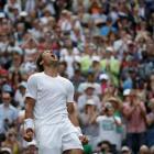 Rafael Nadal celebrates after defeating Lukas Rosol. REUTERS/Max Rossi