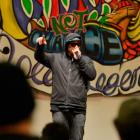 Rapper Scribe delivers his anti-gambling message in the Glenroy Auditorium yesterday. Photo by...