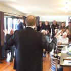 Ray White Queenstown auctioneer Alan Lethbridge conducts the mortgagee auction of Kawarau River...