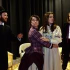 Rehearsing The Importance of Being Earnest  at the Globe Theatre, (from left) Matthew Scadden is...