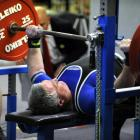 Rennie Soffe, of Dunedin, lifts 217.5kg to set a national record during the national bench press...